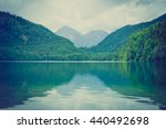 mountain lake in foggy day ... | Shutterstock . vector #440492698