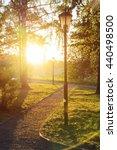 sunset in city park in summer | Shutterstock . vector #440498500