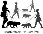 Stock vector a woman walking with a dog on a leash silhouette on a white background 440525698