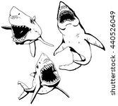 angry shark set   Shutterstock .eps vector #440526049