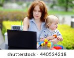 young mother working oh her...   Shutterstock . vector #440534218