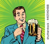 retro man with a beer pop art.... | Shutterstock . vector #440540488