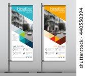 blue triangle flag banner... | Shutterstock .eps vector #440550394
