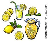 lemonade with lemon in a... | Shutterstock .eps vector #440560684