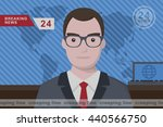 anchorman on tv broadcast news. ... | Shutterstock .eps vector #440566750