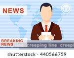 anchorman on tv broadcast news. ... | Shutterstock .eps vector #440566759