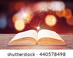 open magic book on wooden... | Shutterstock . vector #440578498