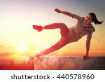 Stock photo young sporty woman outdoors the girl is engaged in parkour 440578960