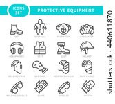 set line icons of protecting... | Shutterstock . vector #440611870