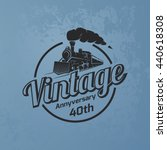 retro train logo on blue grunge ... | Shutterstock .eps vector #440618308