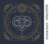 vintage thin line aries zodiac...   Shutterstock . vector #440619940