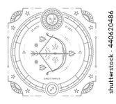 vintage thin line sagittarius...   Shutterstock . vector #440620486