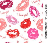 seamless pattern with kisses. i ... | Shutterstock .eps vector #440627158