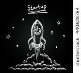 chalkboard sketch rocket... | Shutterstock .eps vector #440628784