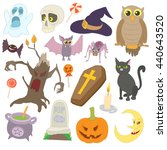 halloween icons set in cartoon... | Shutterstock .eps vector #440643520