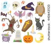 halloween icons set in cartoon... | Shutterstock .eps vector #440643520
