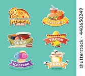 vector emblem set with food... | Shutterstock .eps vector #440650249