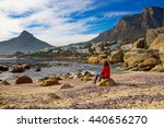 a female tourist takes in the... | Shutterstock . vector #440656270