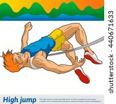 the athlete performs a high... | Shutterstock .eps vector #440671633