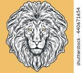 hand drawn lion head... | Shutterstock .eps vector #440671654
