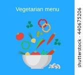 salad bowl and fresh vegetables.... | Shutterstock .eps vector #440675206