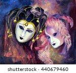 venetian carnival masks. oil...   Shutterstock . vector #440679460