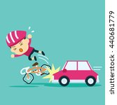 car accident crash cyclist ride ... | Shutterstock .eps vector #440681779