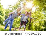 friends having fun in the park... | Shutterstock . vector #440691790
