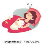 sleeping girl with cat. cartoon ...