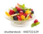 Fruit Salad With Cream In A...