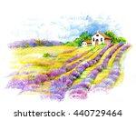 watercolor rural house in green ... | Shutterstock . vector #440729464