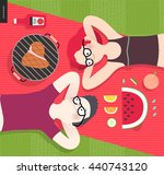 young couple on picnic  top... | Shutterstock .eps vector #440743120