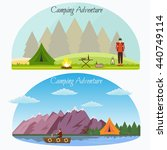 hiking and outdoor set flat... | Shutterstock .eps vector #440749114