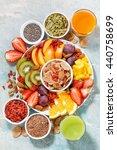 fresh seasonal fruits  juices... | Shutterstock . vector #440758699