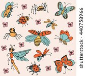 hand drawn set of insects.... | Shutterstock .eps vector #440758966