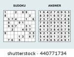 vector sudoku with answer.... | Shutterstock .eps vector #440771734