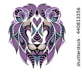 patterned colored lion head.... | Shutterstock .eps vector #440813356