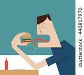 hungry man eating hamburger.... | Shutterstock .eps vector #440817970