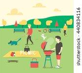 picnic. man preparing meat....   Shutterstock .eps vector #440834116