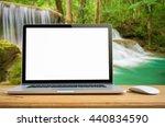 conceptual workspace  laptop... | Shutterstock . vector #440834590