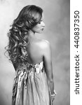 beautiful model with long curly ... | Shutterstock . vector #440837350