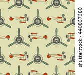 vintage airplane pattern. with... | Shutterstock .eps vector #440837380
