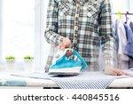closeup of woman ironing... | Shutterstock . vector #440845516