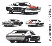 set of muscle car illustrations ... | Shutterstock .eps vector #440846149