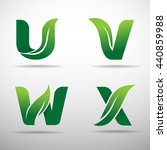 set of green eco letters logo... | Shutterstock .eps vector #440859988