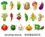 funny various cartoon vegetables | Shutterstock . vector #440860024
