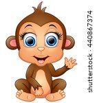 Happy Monkey Cartoon Waving Hand