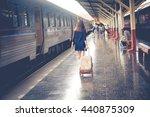 traveler girl walking and waits ... | Shutterstock . vector #440875309