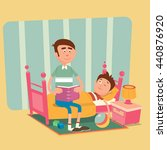 father is reading a book to his ... | Shutterstock .eps vector #440876920