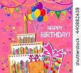 birthday card. celebration pink ... | Shutterstock .eps vector #440882638